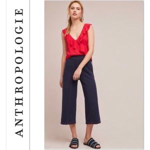 Navy Wide Leg Terry Pants from Anthropologie